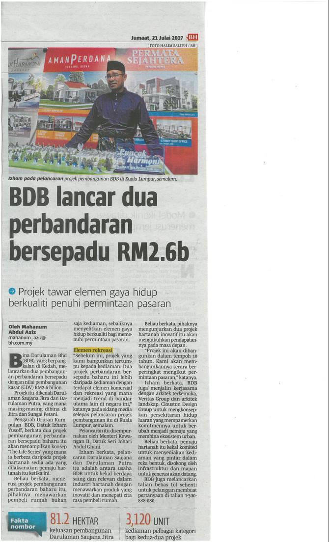 BDB lancar dua perbandaran bersepadu RM 2.6b - Berita Harian