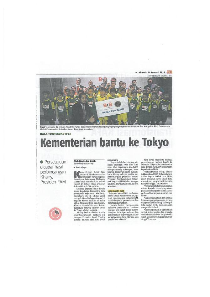 Kementerian bantu ke Tokyo - Berita Harian (25/1/2018)