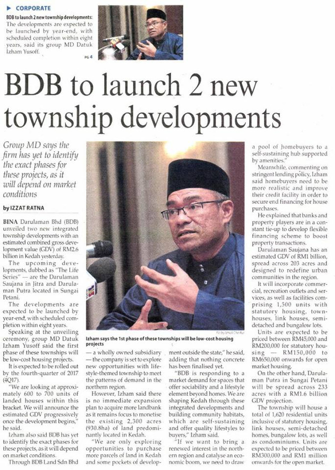 BDB to launch 2 new township developments - The Malaysian Reserve