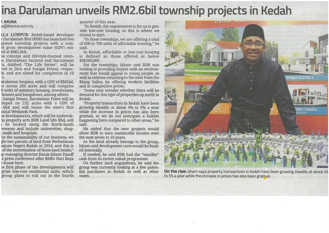 Bina Darulaman unveils RM2.6bil township projects in Kedah - The Star