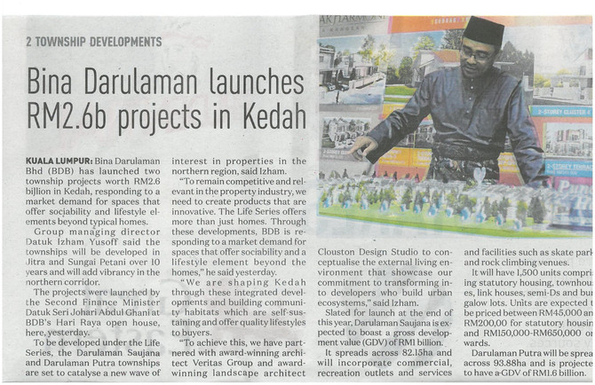 Bina Darulaman launches RM2.6b projects in Kedah - New Straits Times