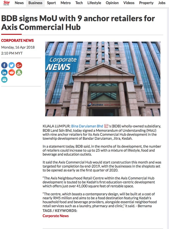 Majlis Menandatangani MoU Dengan 9 Peruncit Utama untuk Projek Axis Commercial Hub.