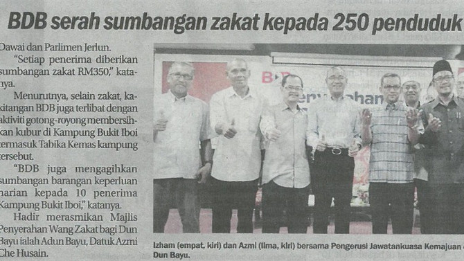 BDB serah sumbangan zakat kepada 250 penduduk ( Sinar Harian,7/3/2018)