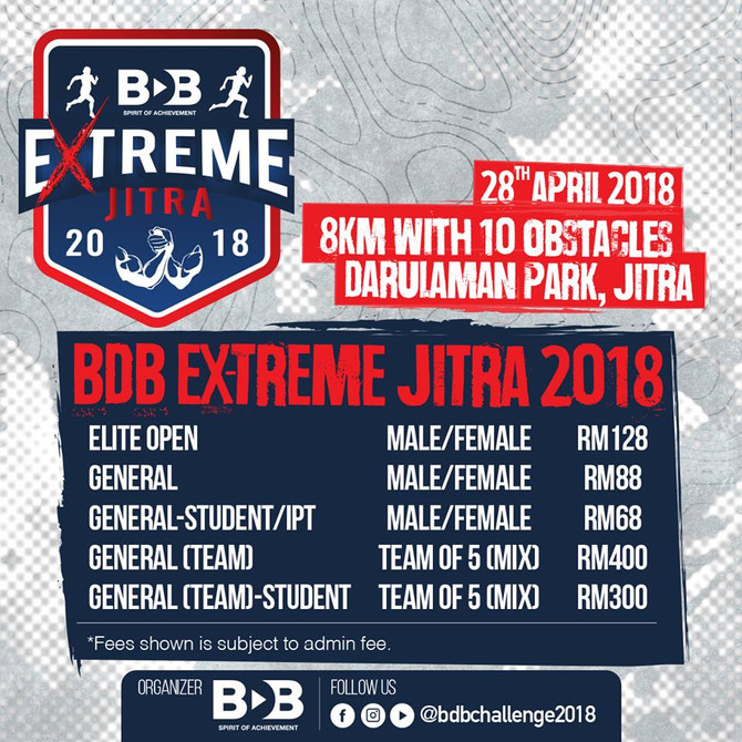 Registration for BDB Extreme Jitra 2018 is now open from 8 March 2018 - 18 April 2018.