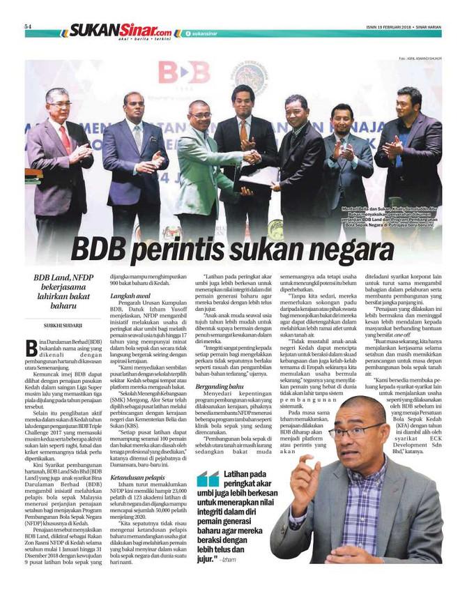 BDB Perintis Sukan Negara. Sinar Harian (19 Februari 2018)