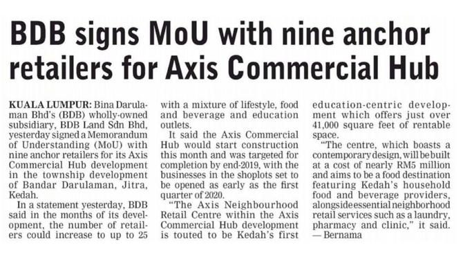 Keratan Akhbar : Axis Commercial Hub, Jitra