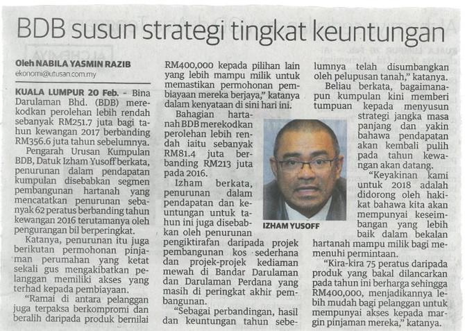BDB susun strategi tingkat keuntungan - Utusan Malaysia (21/2/2018)