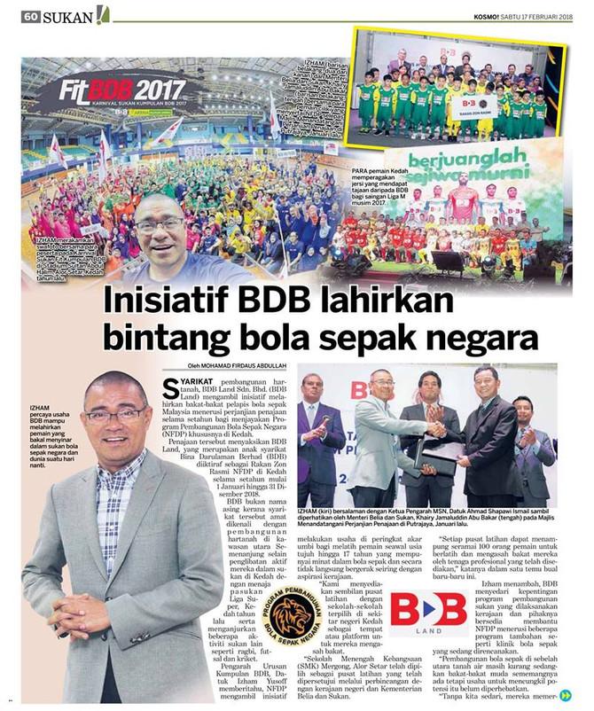 Inisiatif BDB lahirlan bintang bola sepak negara - Kosmo! (17.2.2018)