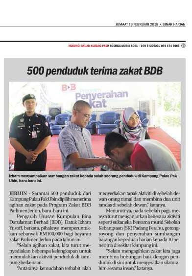 500 Penduduk Terima Zakat BDB. Sinar Harian (16 Februari 2018)