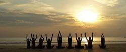 Beach group yoga