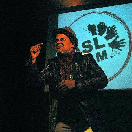 Deaf performer David Rivera performs at the ASL Slam in NYC