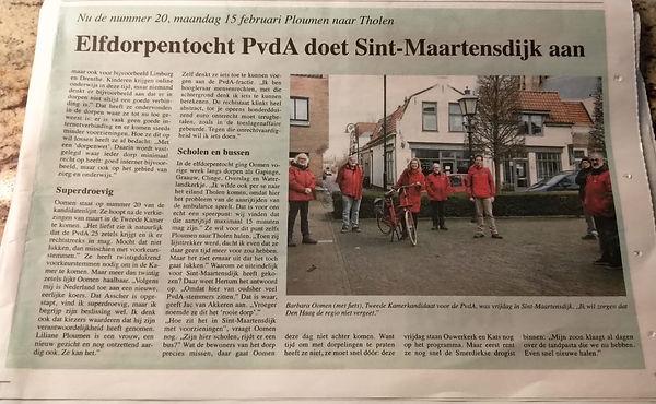 Krantenbericht elfdorpentocht politicus Barbara Oomen