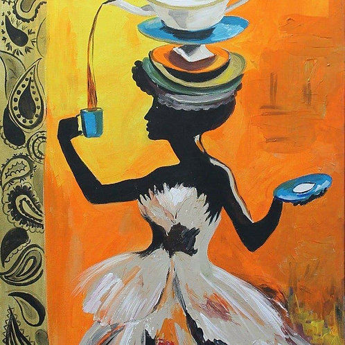 A woman with Coffee Cups