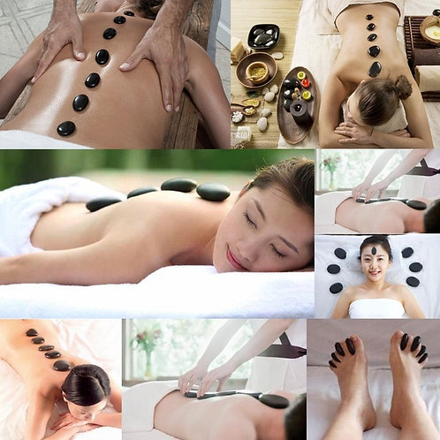 12pcs Hot Stone Massage Basalt Stones Relaxing Spa Treatment Pain Relief