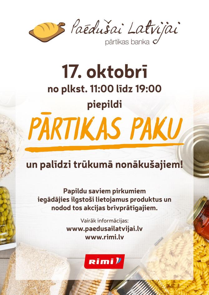 """Pārtikas banka """"Paēdušai Latvijai"""" tradicionālajā labdarības akcijā aicina piepildīt pārtikas pakas"""