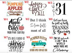 Fall designs W1-W9