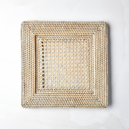 Square Rattan Charger in White Wash