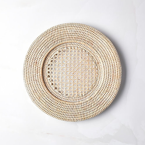 Round Rattan Charger in White Wash