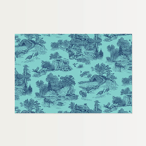 Navy/Teal Toile Paper Placemats