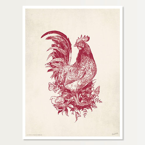 Rooster Art Print 18x24