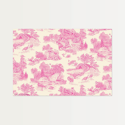 Pink Toile Paper Placemats