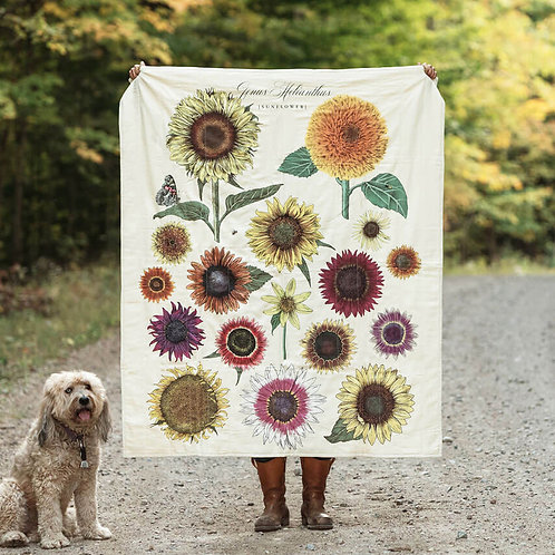Sunflowers Quilted Throw