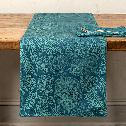 Coral Table Runner in Teal