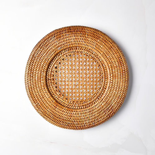 Round Rattan Charger in Dark Natural
