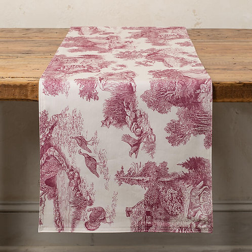 Woodland Toile Table Runner in Vintage Red