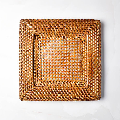 Square Rattan Charger in Dark Natural