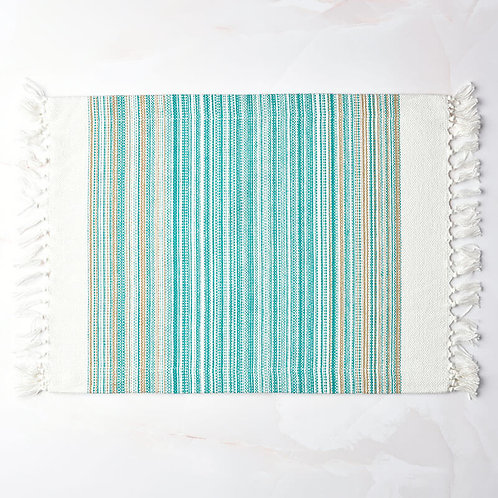 Striped Woven Placemats with Fringe - Set of 4