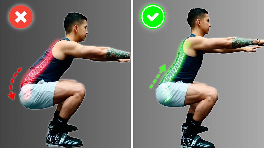 squat depth too low back pain