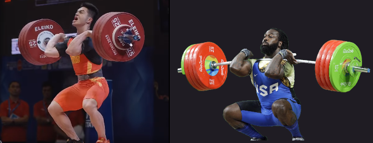 man doing power clean and man doing clean