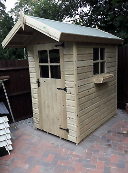 """6'x4' Tanalised 19mm t&g loglap Delux shed apex roof+18"""" canopy+locking handle"""