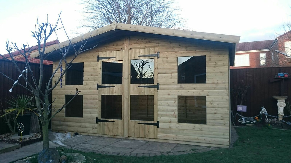 "14'X10 FULLY TANALISED 19mm t&g Loglap Summerhouse/reverse apex+18"" canopy"