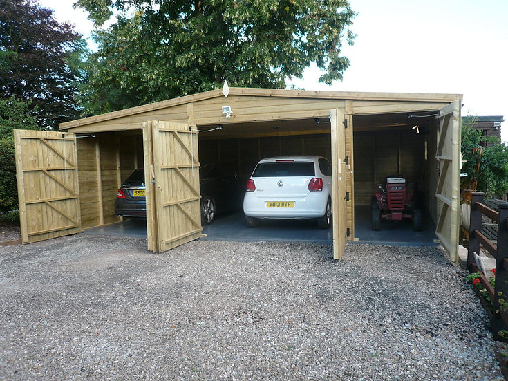 23'x19' 19mm FULLY TANALISED t&g shiplap garage HEAVY DUTY reverse apex/all size