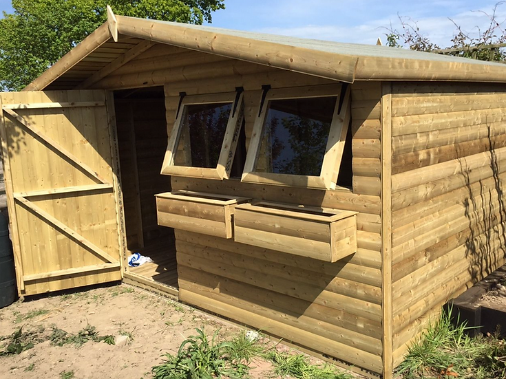 "12'x10' FULLY TANALISED 19mm t&g Loglap Summerhouse Apex roof + 18"" Canopy"