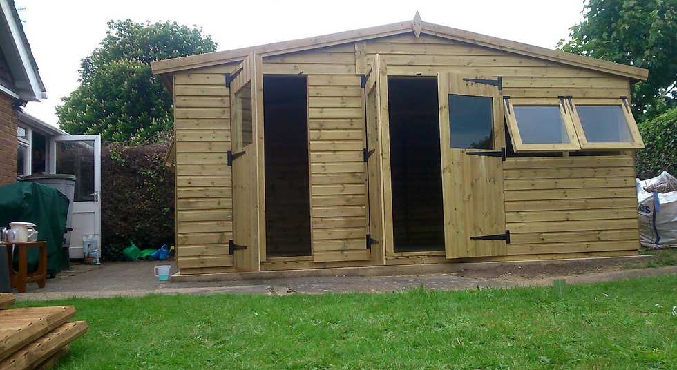 16'x12' Tanalised 19mm t&g Shiplap Shed Reverse Apex Inc Extra Height/MULTIROOM