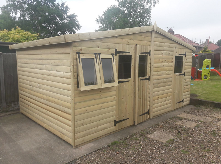 16'x10' Tanalised 19mm t&g loglap Shed/Multiroom Reverse Apex Inc Extra Height