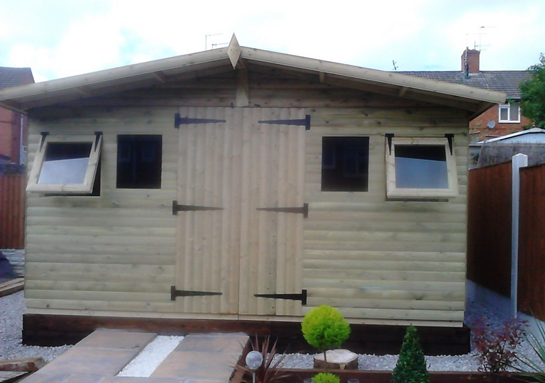 "14'x8' Tanalised 19mm t&g loglap summerhouse reverse apex+18"" canopy+xtra high"