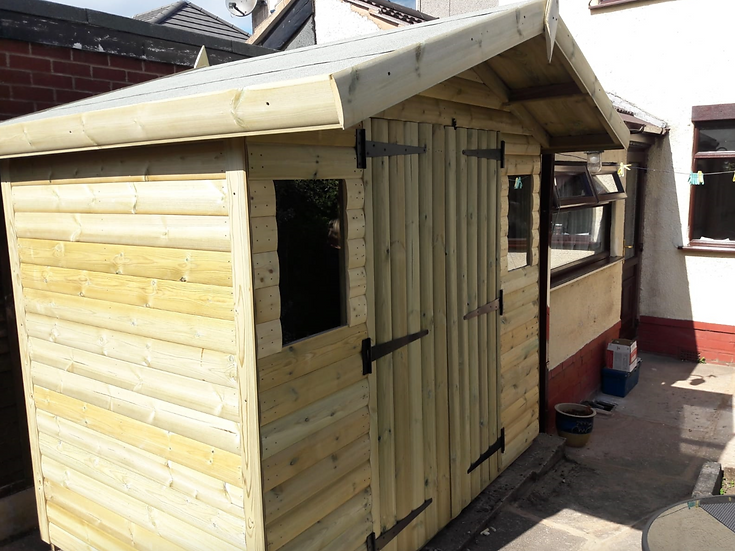 "8'x5' Tanalised 13mm t&g SHIPLAP shed inc an addtional 18"" canopy"