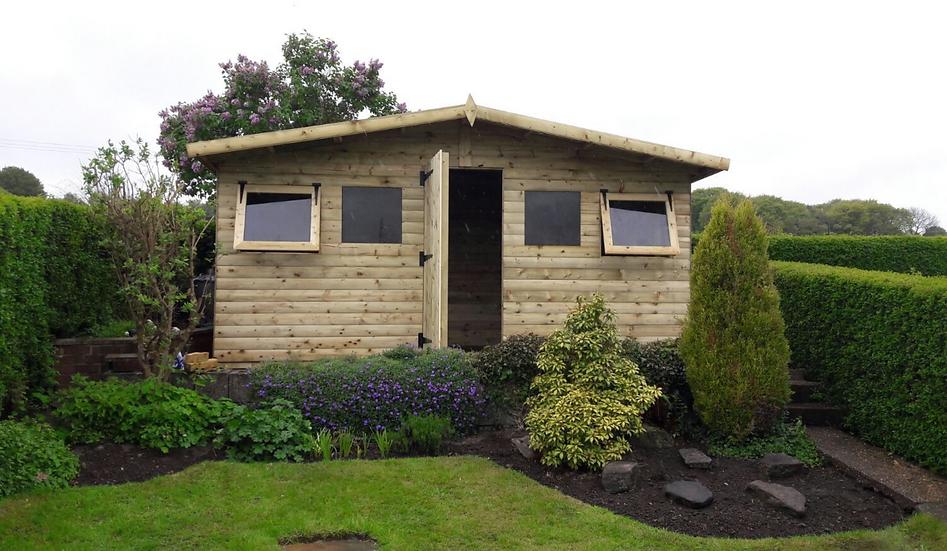 "15'x8' FULLY TANALISED 19mm t&g loglap summerhouse reverse apex + 18"" canopy"