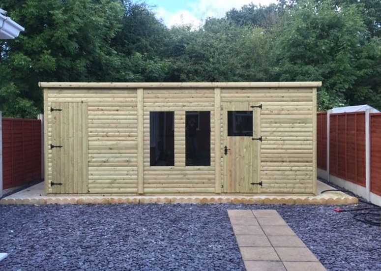 18'x10' Tanalised 19mm t&g loglap heavy duty HIS & HERS summerhouse pent roof