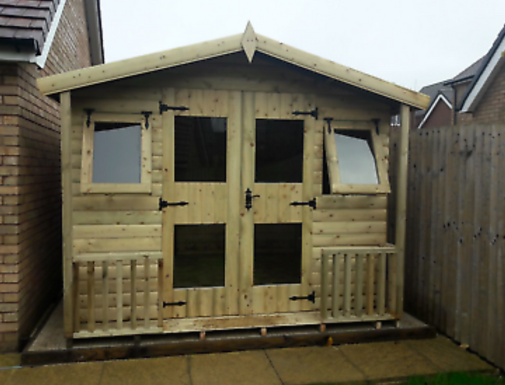 9' x 9' TANALISED EXCLUSIVE 19mm t&g loglap summerhouse inc Porch & canopy**