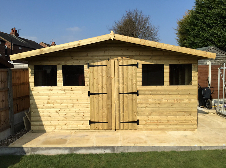 14' x 10' Tanalised 19mm t&g loglap shed/summerhouse reverse apex + 18 canopy.