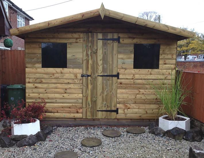 "11'x7' Tanalised 13mm t&g SHIPLAP Summerhouse reverse apex inc 18"" canopy"