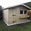"Thumbnail: 12' X 10' FULLY TANALISED 19mm t&g LOGLAP Summerhouse, Apex roof + 18"" Canopy"