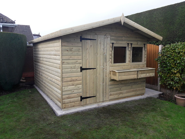 "12' X 10' FULLY TANALISED 19mm t&g LOGLAP Summerhouse, Apex roof + 18"" Canopy"