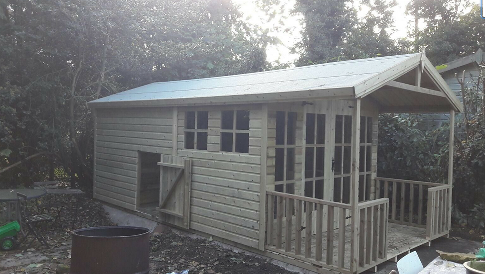 15'x9' TANALISED 19mm t&g shiplap MULTI ROOM family cave inc 4ft Porch & canopy
