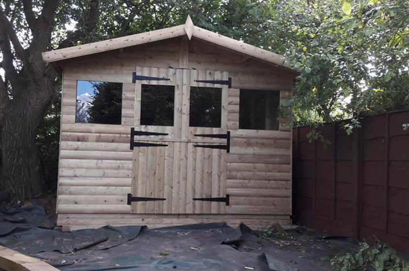 "10""x10"" TANALISED 19mm t&g LOGLAP summerhouse double STABLE doors +18"" canopy"
